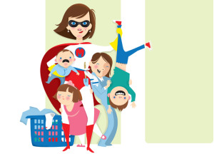 super-mom-kids-illustration-laundry-basket